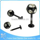 Fashion Internally Threaded Disco Ball Stainless Steel Labret Monroe