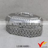 Plated Silver Finish Decorative Storage Vintage Tin Box                                                                         Quality Choice