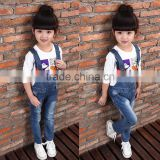 Spring Children's Wear Twill Cotton Denim Suspender Damaged Jeans