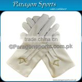 Masonic Regalia Gloves White Cotton Embroidery Logo With Square and Compass in Golden color