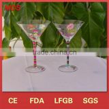 OEM decals custom cocktail glasses with colored stem