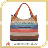 Wholesale canvas stripe beach tote bag cross body hobo bag                                                                         Quality Choice