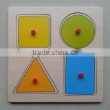 hot sale educational normal shapes wooden puzzle with knob for kids