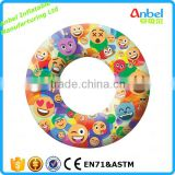 "New Design Emoji Inflatable 48"" Donut Tube Pool Float Emoji Swimming Ring Floating Sun Swim Play Ride"
