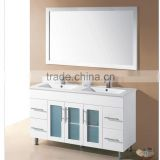 Modern 48 inch floor mounted Quartz Stone top double below mounted ceramic basin PVC bathroom cabinet vanity