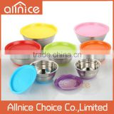 Colored stainless steel salad bowl set with pp lid silicone bottom/stainless steel food container