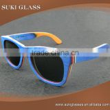 Skateboard Sunglasses colorful blue wood sun glasses stock