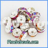 Wholesale 8mm Spacers Beads Findings Purple Iridescent Acryl Crystal Rhinestone Metal Accessories For Making Bracelets RRS-B009A