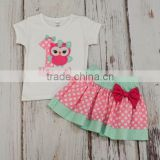 Children Clothes OEM Baby girl summer outfit owl t shirt skirt 2pc set Cotton summer sets