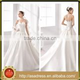 A36 2016 Classic Sweetheart Low Back Formal Wedding Party Gown Appliqued Crystal Beaded Bodice Wedding Dress Princess