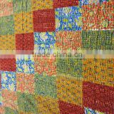 Colorful Patchwork Kantha Bed Cover Double Bed Size Cotton Fabric Bedspread Fruit Printed Patches