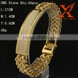 Quality Chains Vacuum Gold Plated Double Layer Franco Hip Pop Cable 14mm Wide ID Bracelet For Men