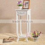 Unique design beautiful white cheap small MDF tea table / bedside table / phone table/storage table with long legs