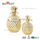 Decorative Gold Ceramic Pineapple canister