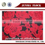 Black and red line flower pattern China textile flocked turkish sofa furniture fabric lined