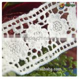 2015 pop top New Arrival Embroidered water soluble flower cotton lace trimming for garment