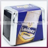 Factory direct sale trapezoid tissue box customised printing trapezoid tinplate napkin dispenser