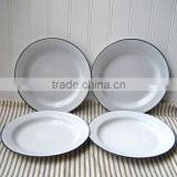 Kitchen Enamelware Accept Private Lable Oval Enamel Plate pie dish plate with coloured rim