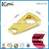 High quality gold fashion custom metal bag accessories zipper puller