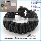 Camping /outdoor 350/550 cord firestarter survival flint bracelet with fishing tool, firebar