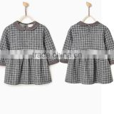 Latest Children Winter Plush Check Dress With Peter Pan Collar Design Children Girls Kids Clothes Garment 2016 HSD5797