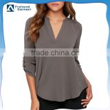 Summer V Neck Solid Loose Casual Cuffed 3/4 Sleeve Curved Hem Ladies Chiffon Blouses Shirts and Tops