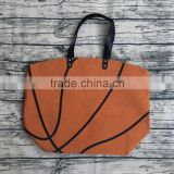wholesale canvas women basketball ball tote bags with leather handles