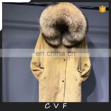 Top grade corduroy jackets real fur parka coat winter fashion overcoat