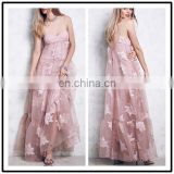 Floral Embroidery Organza Spaghetti Straps Empire Waist Plus Size Bandage Long Gowns Dress for Ladies NT6820