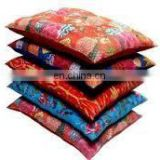 Cotton Kantha Stuffed Indian Vintage Kantha Patch Floor Cushion; Pouf Ottoman Kantha Manufacturer