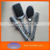 Plastic silver hair brushes line for hair salon
