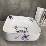 Bathroom countertop colored square ceramic wash basin sink in flower painted