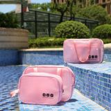 Lady Travel Cosmetic Toiletry Organizer 3pcs Set Waterproof Solid Color Jelly Bag With EVA Mesh