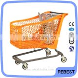 High quality supermarket shopping cart with brake wheels