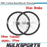 Disc Brake Road bicycle wheels wholesale 700c full carbon road bike Tubular wheelset 38mm carbon wheels with 25mm width