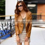 0806072-1 Wholesale Latest Women Fashion PU Leather Jacket Lady PU Leather Brown Coat in 2014