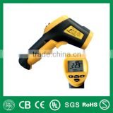 Yellow handheld infrared thermometer with laser point for measuring temperature