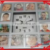 plastic wall clock with multi photo frame home decor baby pictures digital wall clock