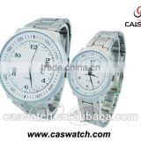 Fancy silver-toned round watch, quartz movement water resistant couple watch, stainless steel back couple watch