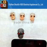 Wholesale Smart Dust Plugs for Cell Phones Skull Anti Dust Cover Crystal Earphone Jack for iPhone Dust Cover