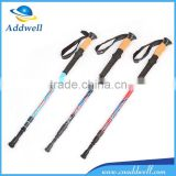 3 section anti shock folding telescopic flexible carbon fiber trekking pole