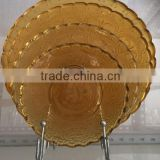 Chinese style engraved sodalime glass round yellow dinner wedding charger plate