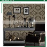 free samples embossed pvc wallpaper, brown classic damask plastic wall covering for bathrooms , beautiful wall decal brands