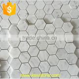 Hexagonal marble mosaic and white carrara stone mosaic with back mesh