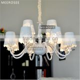 Fashion Style Metal Lighting Bulb Fabric Chandelier Shades Modern Chandeliers in Dinning Room MD3141