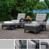 Comfy luxury synthetic garden furniture outdoor rattan sun loungers wicker outdoor bed plastic sun lounger