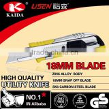 tool cutter 18mm Snap Off Blade Zinc alloy Utility Cutter Knife double teeth blade track