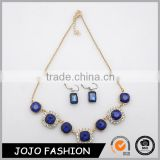 Wholesale gold chin resin jewelry fashion rhinestone blue ruby necklace set for party