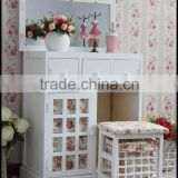 Living room furniture modern Korean style wood dressing table with stool