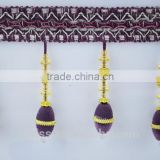 new design fashion curtain lace decorative bead black tassel fringe,stock bead fringe trimming